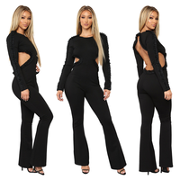 Elegant Sexy Jumpsuits Women Backless Beading Jumpsuit Slim Trousers Bodycon Flare Pants Rompers Party Queen Leotard Overalls