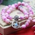 8 мм Классический Розовый Халцедон Персик камень Браслет ручной цепи для женщин девушки Натуральный Кулон Ваджра Бодхи Кулон Двойной круг