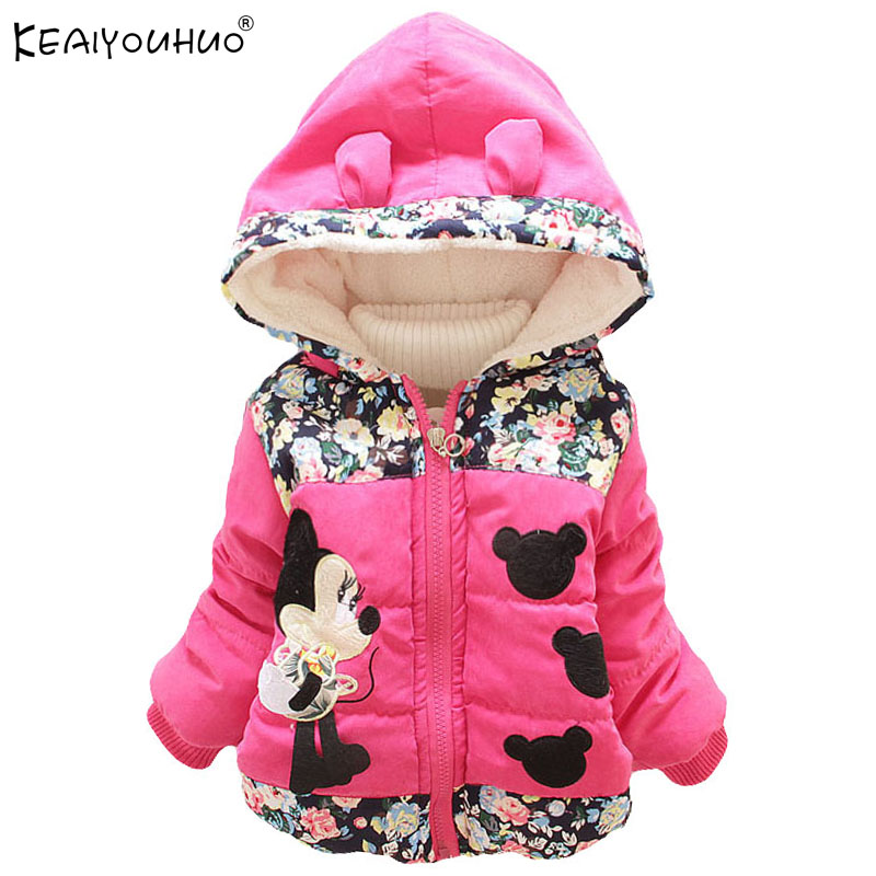 30e34e5d41e54 Yüksek Kaliteli Kız Kış Mont Ceket Için Bebek Kız Giyim Minnie Mouse Kız  Ceketler Pamuk Sıcak uzun kaban Çocuklar Için Giyim
