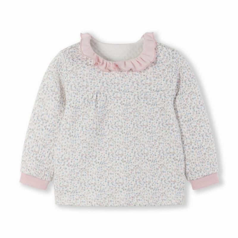 Balabala Infant Baby Mädchen Weiche Baumwolle Rüschen Kragen Langarm Hemd Sweatshirt Offene Schulter Ribbing an Manschette für Neugeborene Baby