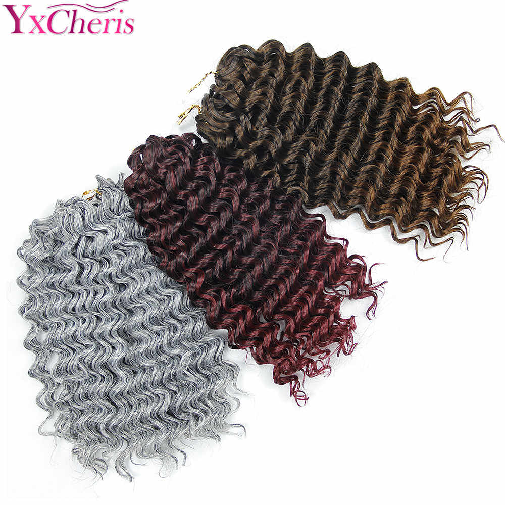 Crochet Braids Deep Wave 3 Bundles Jerry Curly Synthetic Hair Extensions Ombre Deep Freetress braids Braiding Hair 3pcs/lot
