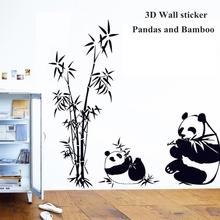 New Black large size 100*95CM Panda Bamboo Wallpapers Living Room TV Wall Sofa Removable Home Sticke Wall papers Art Home Decor