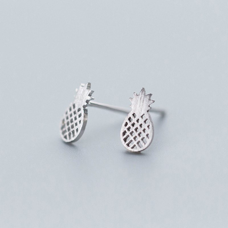 MloveAcc Hot Sale Authentic 925 Sterling Silver Tropical Pineapple Stud Earrings for Women Fashion Jewelry Gift