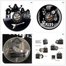 ФОТО kiss band theme best 3d art mirror wall clock vinyl record wall sticker art home decor