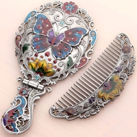 Russian Handle Mirror with Comb Set, Retro Portable Portable Mirror, Folding Desktop Princess Mirror