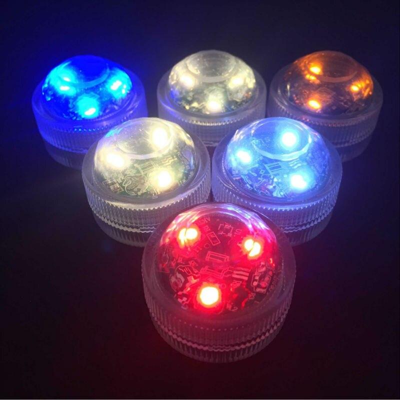 50pcs/set CR2032 Battery Powered Waterproof Mini 3leds Submersible LED Light For BirthdayParty Ramadan Vases Decoration