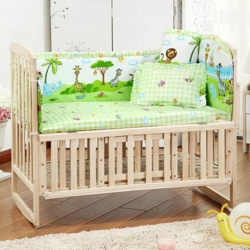 5PCS/set Cotton Baby Bedding Set For Girl Boys Crib Bedding Set For Baby Cot Bumper Baby Crib Bumper