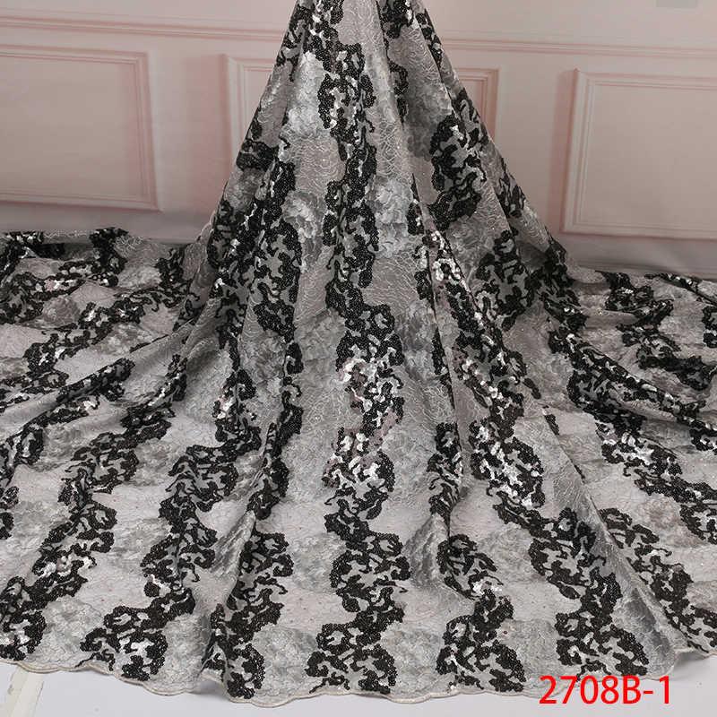 แอฟริกัน Organza ลูกไม้ผ้า 2019,คุณภาพสูงผ้าลูกไม้ Tulle ผ้า, sequins ภาษาฝรั่งเศสคำสุทธิ Laces กับหินสำหรับ Party KS2708B-1