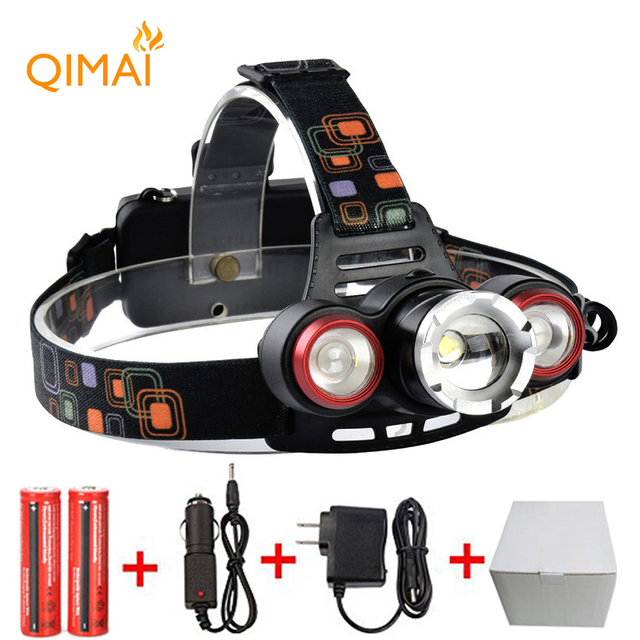 7000Lm Led lighting Head Lamp XM-T6+2LED Headlamp Headlight Camping Hunting Light +2*18650 battery+Car EU/US/AU/UK charger