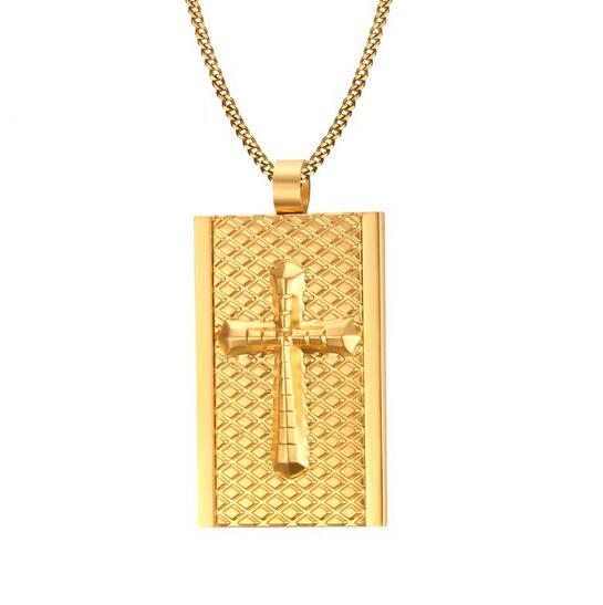 Plated gold stainless steel large dog tag cross pendant necklace plated gold stainless steel large dog tag cross pendant necklace chain for men gifts 3mm 24 in pendant necklaces from jewelry accessories on aloadofball