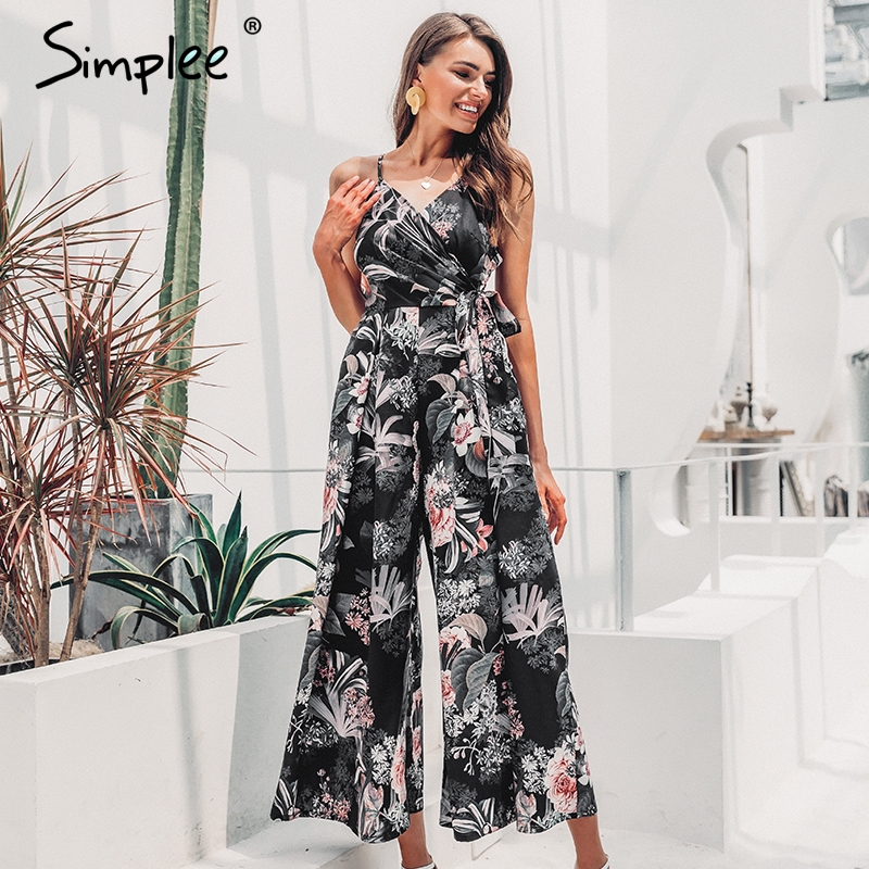 Simplee Sexy v-neck spaghetti strap women long   jumpsuit   Bohemian floral print wide leg romper Summer beach wear long   jumpsuit
