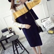 Autumn winter warm Women woolen runway knitted skirt suits Set Long Sleeve Sweater woolen suits Skirt 2 pieces suits sets female