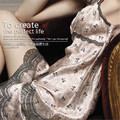 women Night dress False Silk satin Sleepwear Long Robes Gown Nightwear