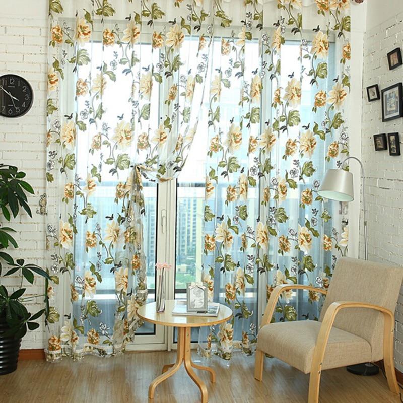 Mordern Door Window Curtain Floral Tulle Voile Drape Panel Sheer Scarf Valances