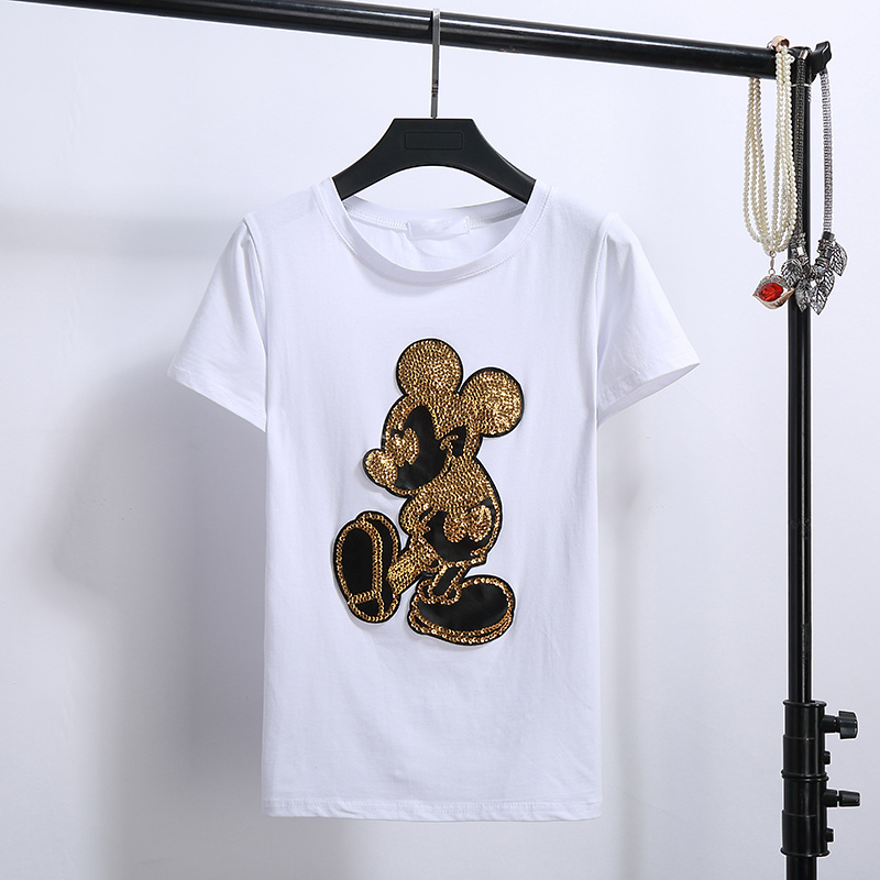 2018 East Gate sequin cartoon mouse embroidery thin cotton short sleeved T-shirt all-match schoolgirl tees tops iPhone