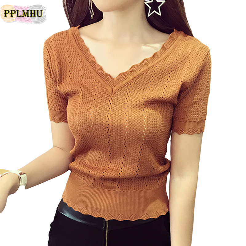 Women Elegant Hollow Out Summer T-Shirt Fashion New V-Neck Short Sleeve Knitted T-Shirt Slim Waist Femme Vintage Top T-shirt
