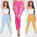 Fashion high waist women candy color boyfriend elastic denim ripped hole pencil jeans pantalones vaqueros mujer pants trouser