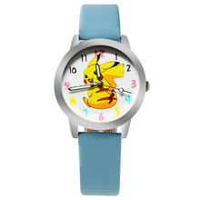 Cartoon Pikachu Smiling face gift quartz watches for children promotion gift leather wristwatches sports watches