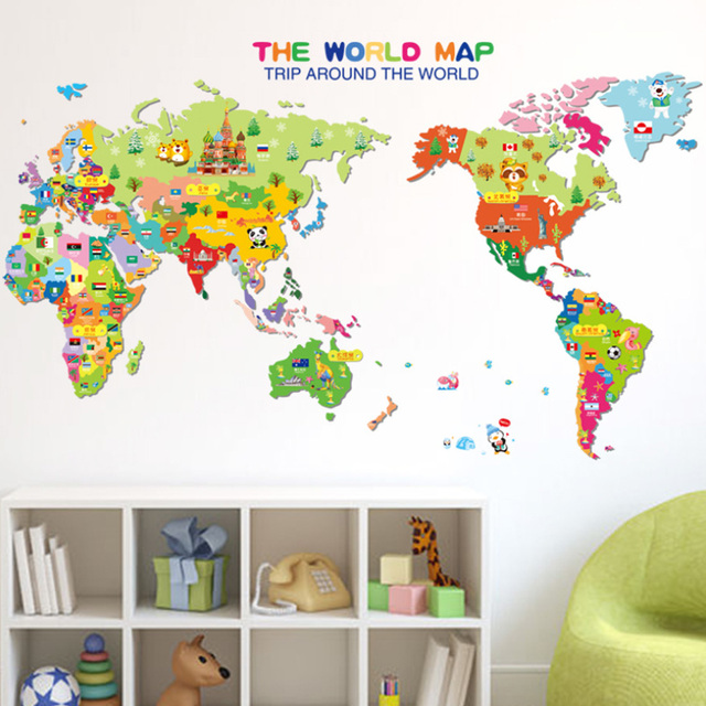 Best sale 1 pcs colorful animal world map wall sticker for kids best sale 1 pcs colorful animal world map wall sticker for kids rooms bedroom decoration gumiabroncs Image collections