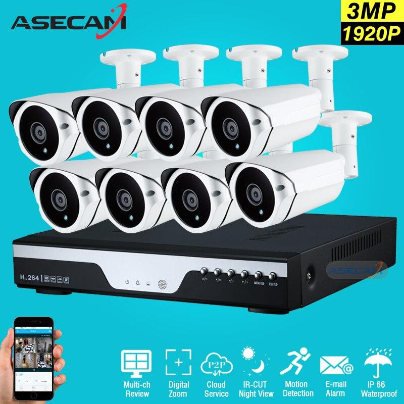 imágenes para New Super 3MP Full HD 8CH Sistema de Vigilancia Video Al Aire Libre Kit de 8 Canales Sistema de Cámara del CCTV de Matriz 1920 P Cámara de Seguridad sistema