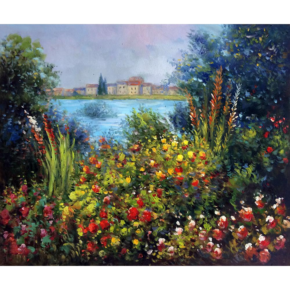 Wall Painting Landscape - Online shop hand painted landscape claude monet oil pictures canvas large wall painting flowers at vetheuil pop art for living room decor aliexpress