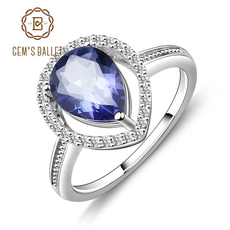 GEM'S BALLET Natural Iolite Blue Mystic Quartz Gemstone Ring Genuine 925 Sterling Silver Rings Women Wedding Engagement Jewelry