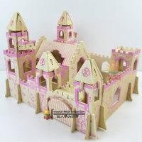 2016 Hot New fancy intelligent educational toy 3D classic model wooden puzzle Children Adult toys handmade Princess Castle