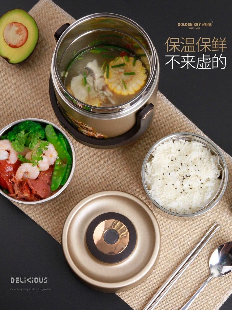 Récipient de nourriture de réchauffeur de nourriture de boîte de Bento d'étudiant de multi-étages de boîte à Lunch d'isolation d'acier inoxydable de mode