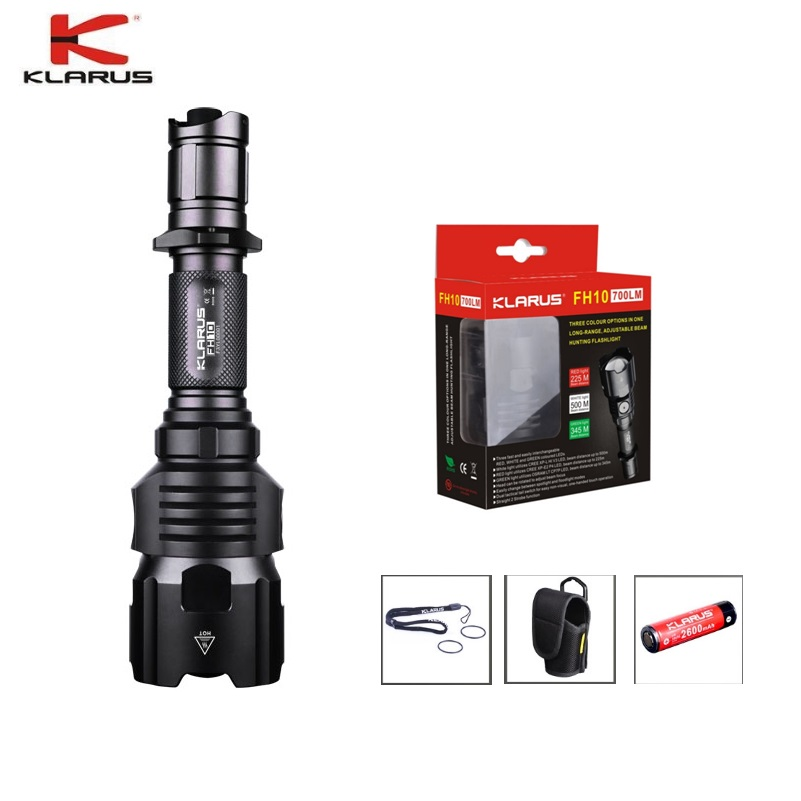 лучшая цена KLARUS FH10 Hunting Flashlight CREE XP-L HI V3 RED WHITE GREEN LED Flashlight Rechargeable Torch Flashlight by 18650 Battery