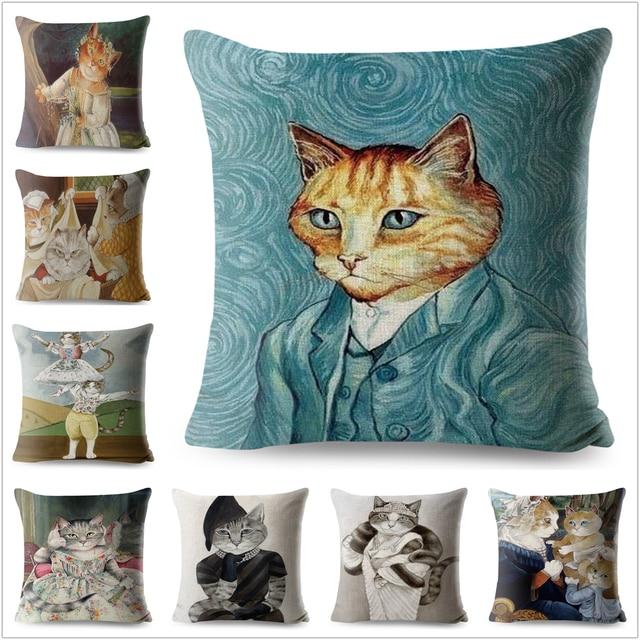 Acquerello Van Gogh Cat Arte Cuscino di Lino Coperture Casa Carino Animale Decor