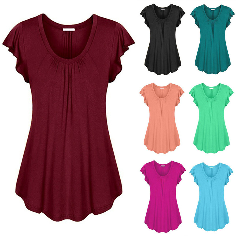 S-6XL Casual Female T Shirts Summer Tops V-neck Butterfly Short Sleeve Solid Women Tee Shirts Plus Size Fashion Ladies Clothing