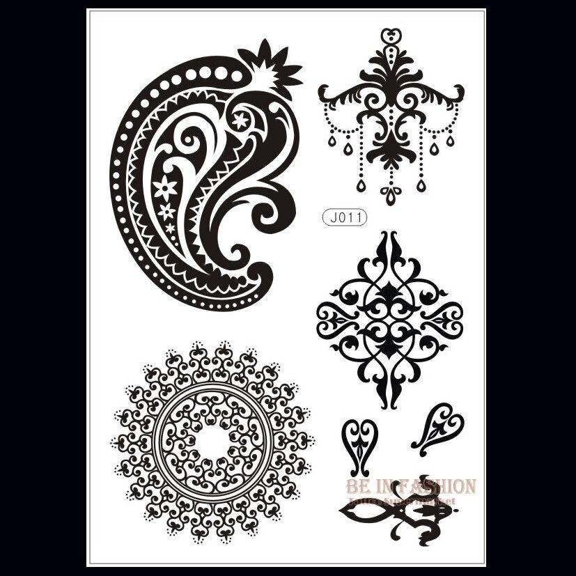 1 Unid Flash Impermeable Tatuaje Mujeres Negro Henna Indio Encaje