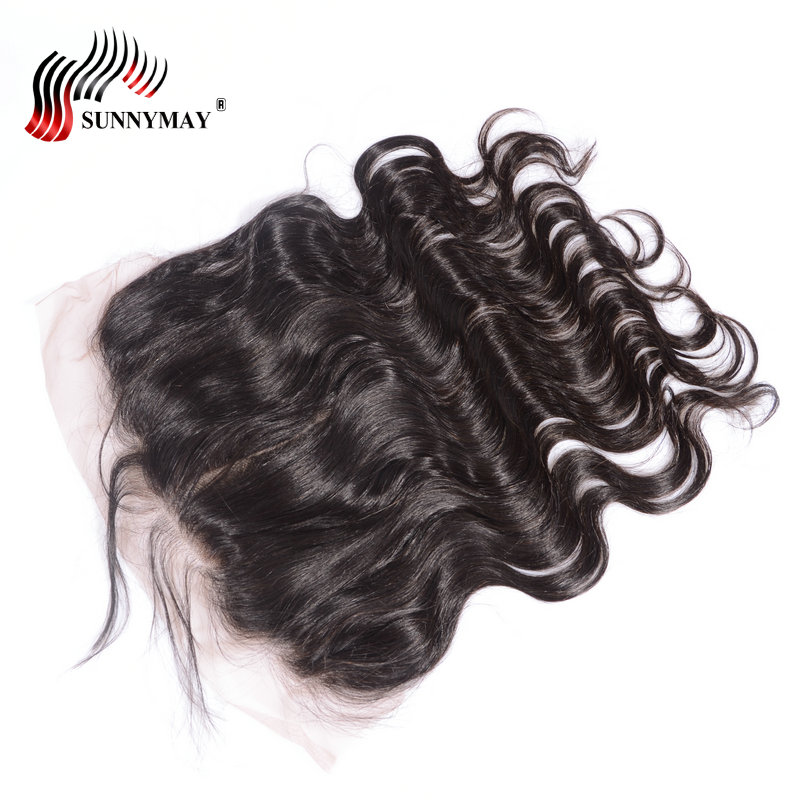 Brazilian Virgin Hair Lace Frontal Closure 13x6 Body Wave Bleached - Rambut manusia (untuk hitam)