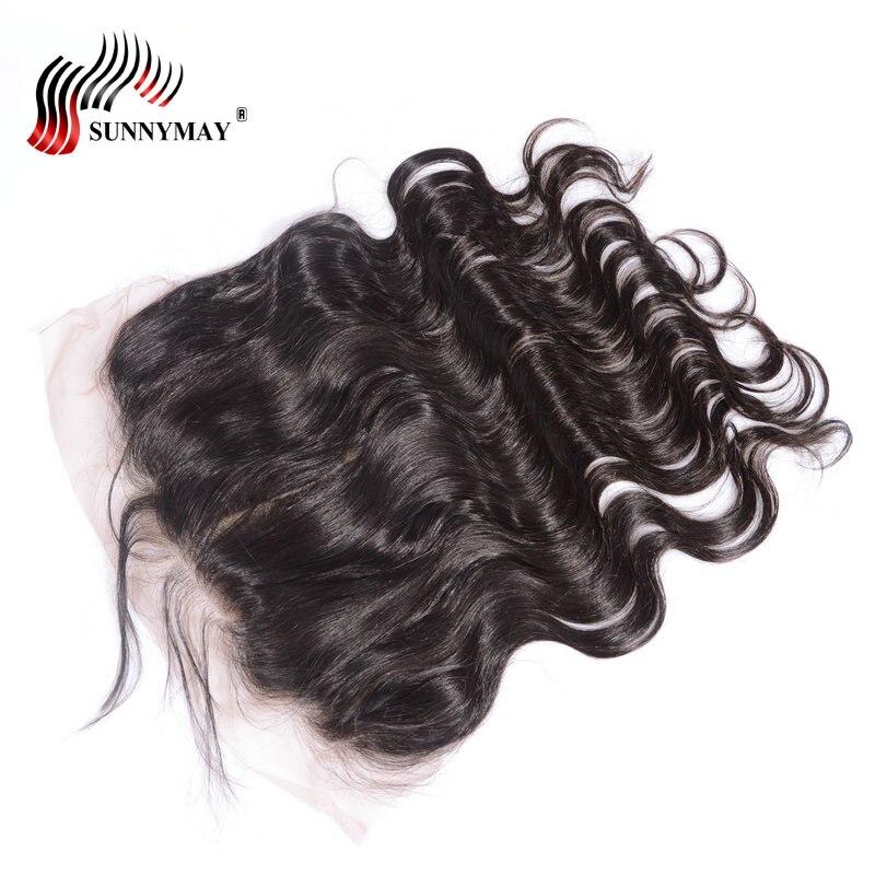 Sunnymay предварительно сорвал 13x6 Кружева Фронтальная Закрытие объемная волна отбеленные узлы с ребенком волос бразильского Виргинские волос