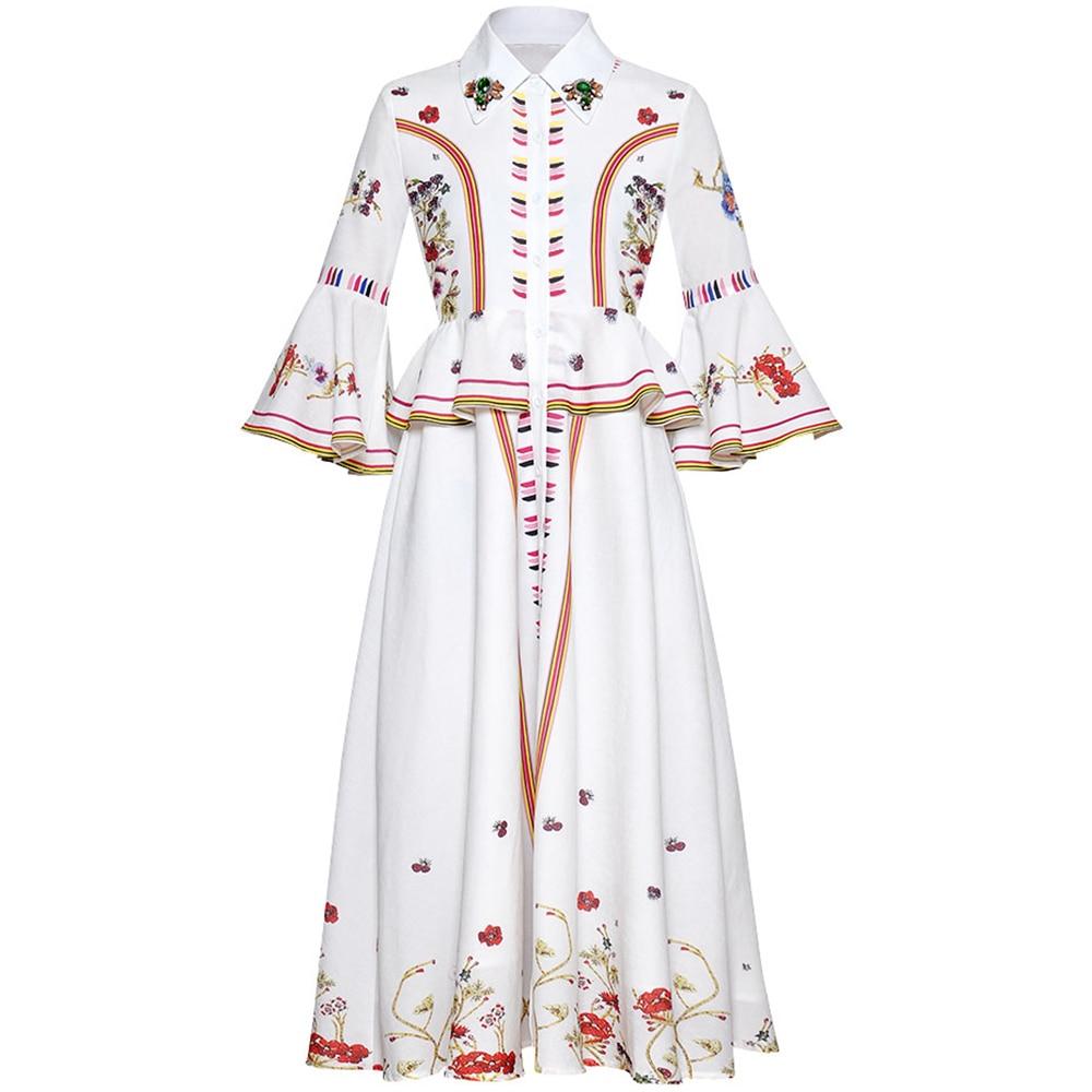 Red RoosaRosee Runway Summer Women Diamond Vintage Print Flare Sleeve Elegant Midi Dress Eelgant White Party