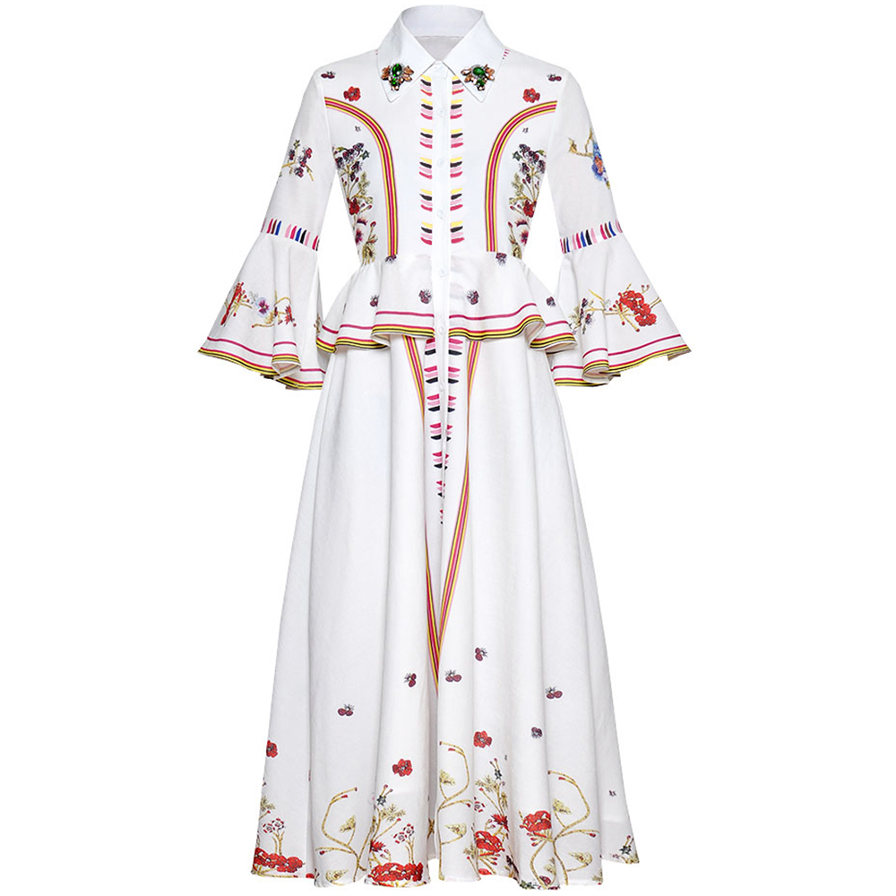 RoosaRosee rojo pasarela verano Mujer diamante Vintage estampado Flare manga elegante Midi vestido Eelgant blanco fiesta Vestidos bata Mujer-in Vestidos from Ropa de mujer    1