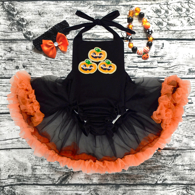 wholesale 2018 new design baby girl halloween romper pretty romper dress with headband and necklace set