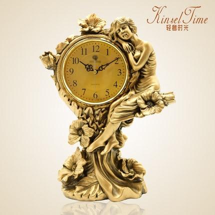 European living room mute creative personality rustic simple ornaments fashion table clock retro quartz clock