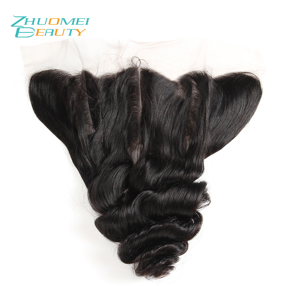 Zhuomei BEAUTY Brazilian Loose Wave Lace Frontal Closure 13*4 Free Part Ear To Ear Natural Colour 100% Remy Human Hair 10-20inch