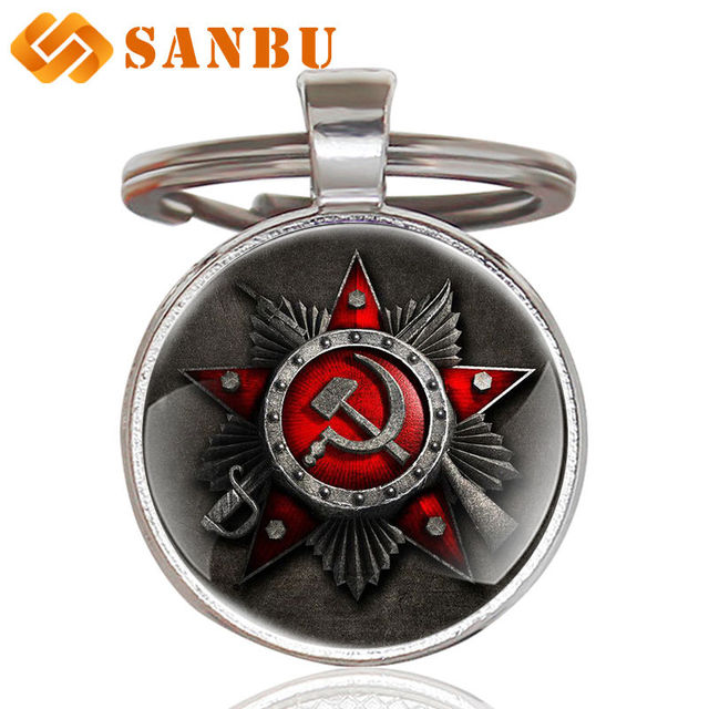Classic Soviet Army Art Glass Cabochon Key Chains Vintage men women Scythe  hammer key rings gifts-in Key Chains from Jewelry & Accessories on