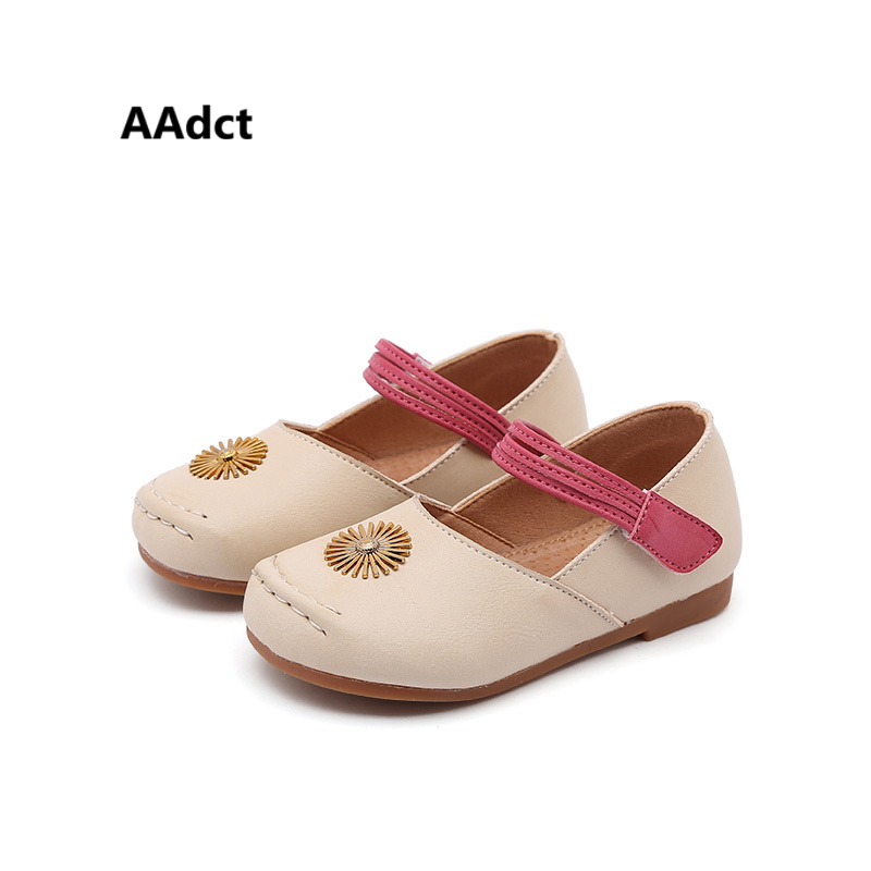 AAdct 2018 princess little girls shoes spring autumn new toddler baby shoes leather children shoes Metal decoration