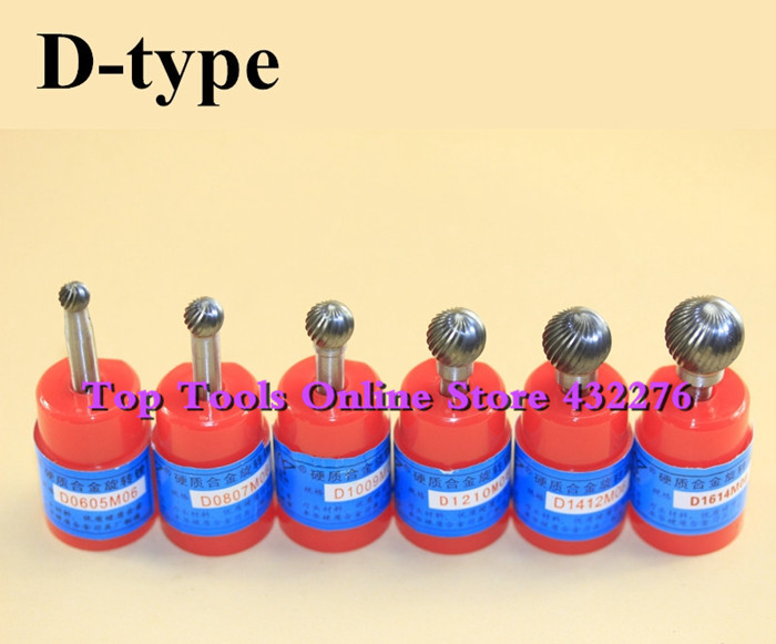 D-type super quality 6pcs/set different sizes single cut spherical rotary file CARBIDE ROTARY BURR FILE 6MM Shank