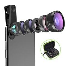 عدسة كاميرا APEXEL يونيفرسال 6 في 1 عدسة عين السمكة عدسة ماكرو بزاوية واسعة CPL/Star Filter 2X tele لهاتف آيفون وسامسونج HTC LG