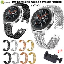 22mm Stainless Steel Watch band for Samsung Gear S3 Classic Frontier Galaxy Watch 46mm Bracelet Link Strap + Quick Release Pins