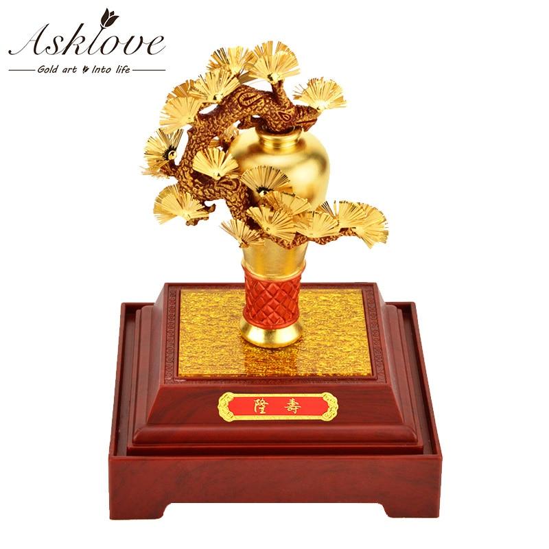 3D prunier bonsaï chanceux richesse fortune arbre feuille d'or ornement Feng shui chanceux arbre bureau décoration de luxe artisanat cadeaux