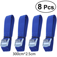 8Pcs Car Roof Rack 300cm Nylon Tension Rope Lashing Strap With Buckle Belt For Boat Cargo Kayak Car Roof Rack Luggage Carrier