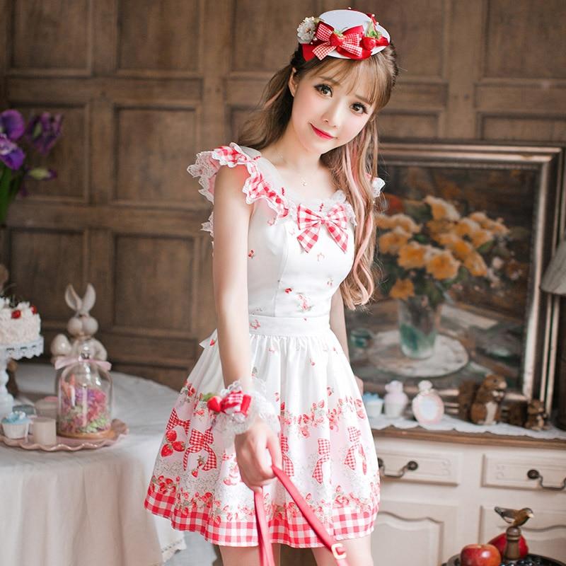 Princess sweet lolita dress Candy rain summer Japanese style sweet sleeveless princess College style refreshing dress