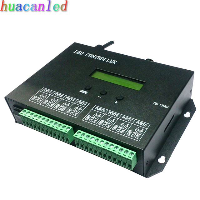 led full color programmable controller,DMX console controller,8 ports drive 8192 pixels,support DMX512,WS2811,WS2812,etc.