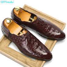 QYFCIOUFU Crocodile Pattern Genuine Leather Formal Shoes Men Pointed Toe Slip-on Dress Luxury Brand Oxford For
