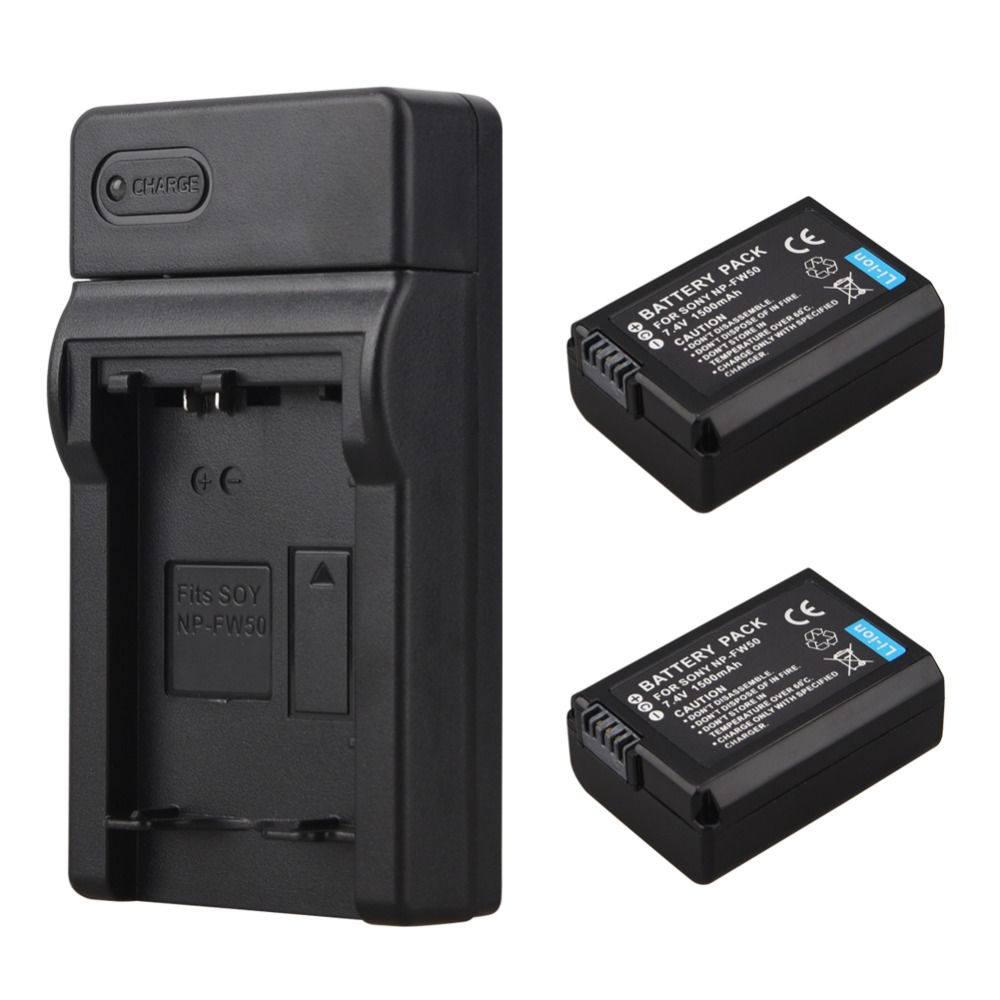2x 1500mAh NP-FW50 NP FW50 Digital Camera Battery + Charger for Sony Alpha 7 a7 7R a7R 7S a7S a3000 a5000 a6000 NEX-5N 5C A55